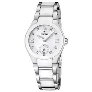 Reloj Festina acero y cerámica blanca -