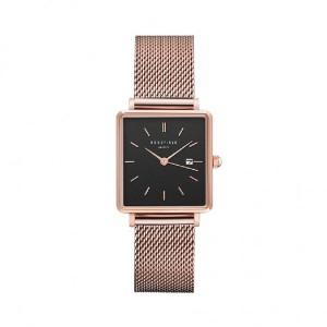 Reloj acero mujer cuadrado rosa malla milanesa -