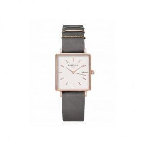 Reloj mujer cuadrado rosa correa gris -