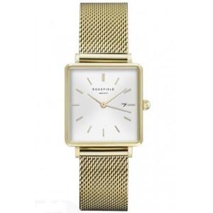Reloj acero mujer cuadrado dorado malla milanesa -