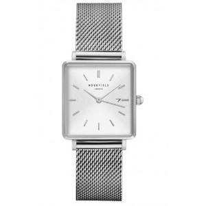 Reloj mujer cuadrado acero plata malla milanesa -