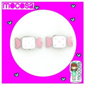 Pendientes caramelo blanco y rosa plata -