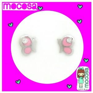 Pendientes mariposa rosa circonita plata -