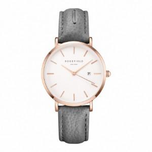 Reloj mujer extraplano acero rosa y correa gris -