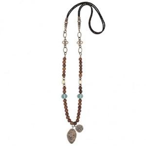 Collar largo piedras color ámbar plata bronce -