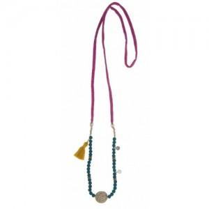 Collar tela rosa bolas turquesa bronce y plata -