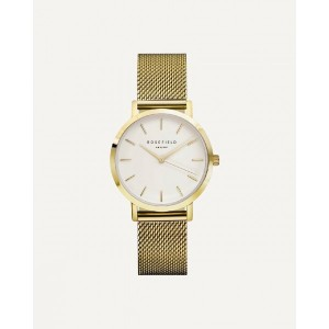 Reloj mujer acero dorado extraplano malla milanesa -