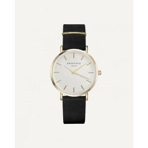 Reloj mujer extraplano dorado correa negra -