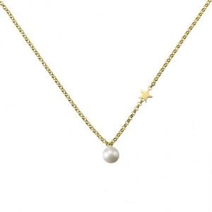 Collar perla y estrella plata oro -