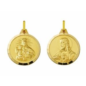 Medalla escapulario oro Carmen y Sagrado Corazón -