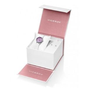 Reloj para niña con pendientes plata y perla - 42404-75