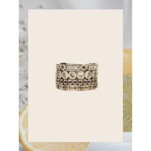 Anillo ancho piedras marrones plata -