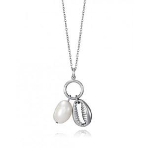 Collar colgante concha y perla natural acero - 15067C01010