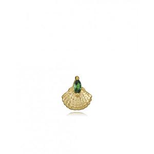 Pendiente concha piedra verde plata oro - 61045E100-46