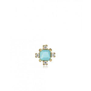 Pendiente piedra turquesa plata oro - 61046E100-46
