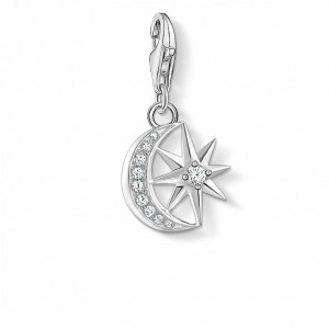 Colgante charm Thomas Sabo luna y estrella plata -