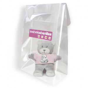 Bolsa peluche oso con chupetero plata -