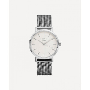 Reloj acero mujer malla milanesa esfera blanca -