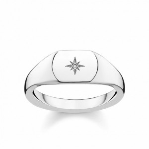 Anillo sello Thomas Sabo diamante plata -