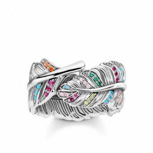 Anillo pluma multicolor plata -