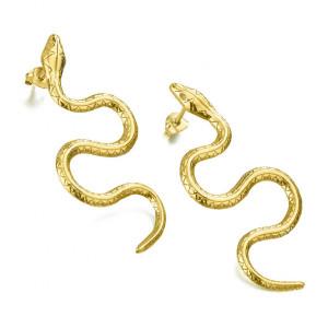 Pendientes serpiente plata recubierta oro -