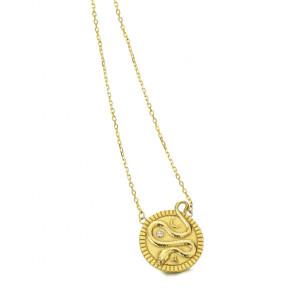 Colgante medalla serpiente plata recubierta oro -