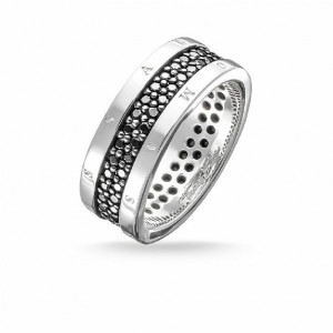Anillo eternity piedras negras plata -