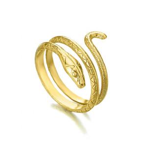Anillo serpiente plata recubierto oro -