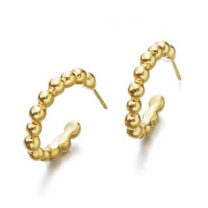 Pendientes aro bolitas plata recubierta oro -
