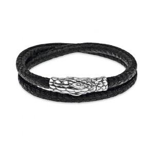 Pulsera doble serpiente plata y cuero -