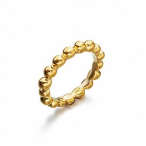 Anillo fino bolitas plata recubierta oro -