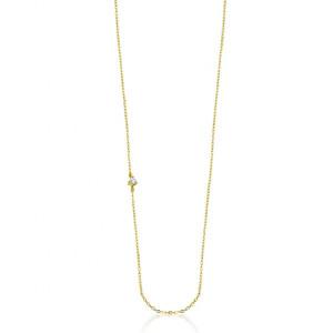 Cadena con diamante ladeado oro amarillo -
