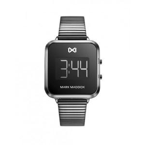 Reloj mujer digital cuadrado acero gris oscuro -