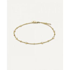 Pulsera fina cristales Swarovski acero oro -