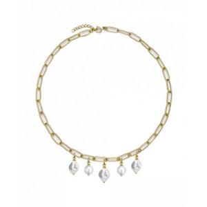 Collar eslabones con perlas acero oro -
