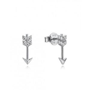Pendientes pequeños flecha circonitas plata - 85010E000-30