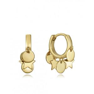 Aros mini con colgantes plata oro -
