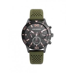 Reloj multifunción acero gris correa verde para chico -