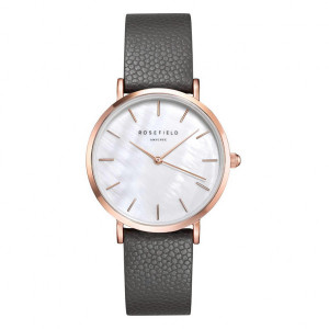 Reloj acero rosa extraplano correa gris mujer -