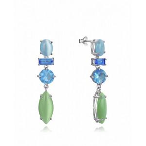 Pendientes largos plata piedras verdes azules - 10002E000-43