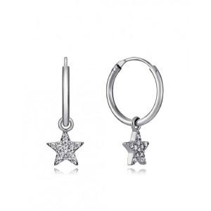 Pendientes aro estrellas circonitas plata - 7115E000-38