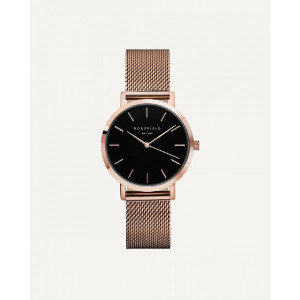 Reloj mujer extraplano esfera negra acero rosa -