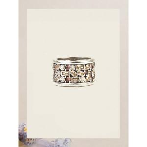 Anillo ancho champagne marfil rodolita plata -