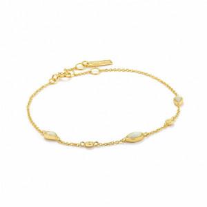 Pulsera mini opalos plata oro -