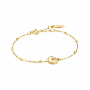 Pulsera fina madre perla plata oro -