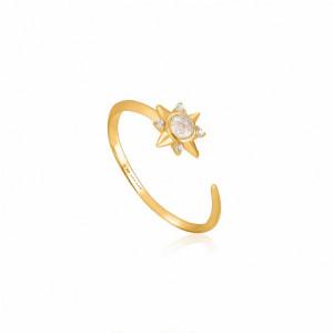Anillo fino estrella polar plata oro -