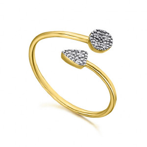 Anillo flecha oro diamantes -