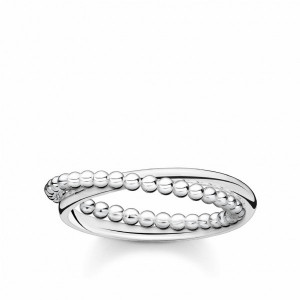 Anillo doble dots plata -