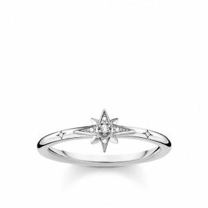 Anillo mini estrella piedras plata -