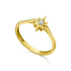 Anillo estrella polar oro diamante -
